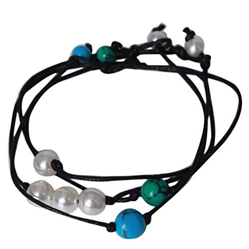LIGHTBLUE - Tobillera de perlas artificiales estilo bohemio con cuentas de turquesa artificial, juego de 2