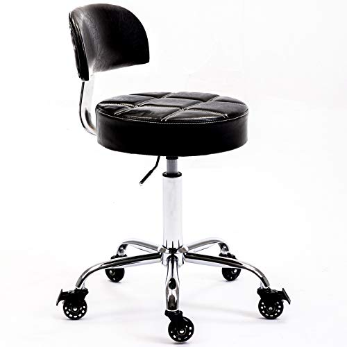 CoVibrant Lockable Stool with Back Ergonomic Rolling Hydraulic Adjustable for Doctor Esthetician Artist Work Small Office Desk (Black Back)
