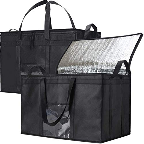 NZ Home 2 Pack XXXL Food Delivery Bags, Insulated Reusable Grocery Bag|Ideal for Uber Eats, Instacart, Doordash, Grubhub, Postmates, Restaurant, Catering, Grocery Transport|Dual Zipper (XXXL 2 Pack)