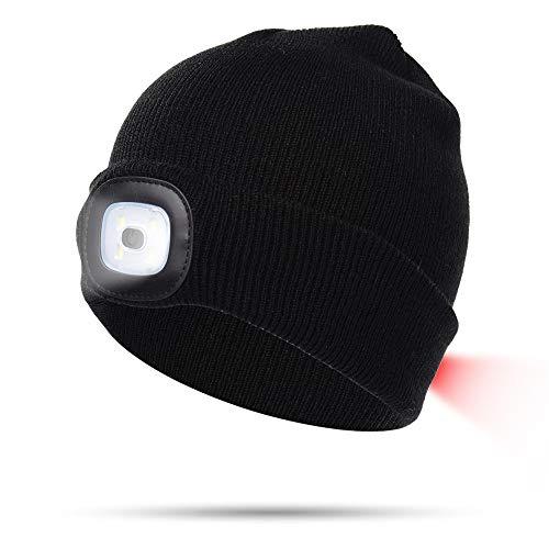 XUPHINX 8LED Strickmütze, Unisex Winter Warme Vorder- und Rücklichter Strickmütze, wiederaufladbare Freisprech-Taschenlampe, für Outdoor/Angeln/Camping/Grillen/Laufen, Schwarz