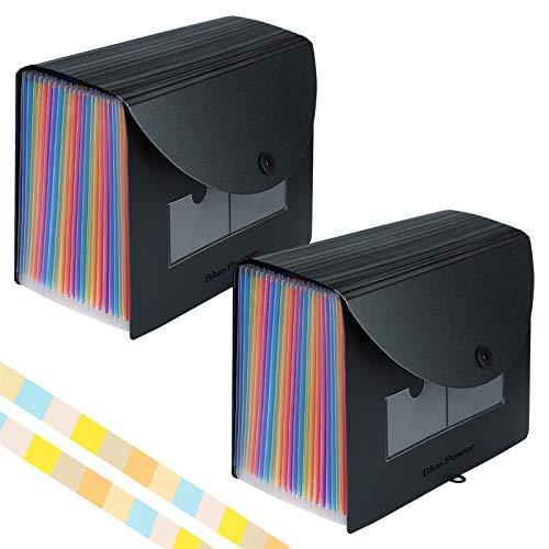 Accordian File Organizer,Expanding Filing Box 24 Compartments Plastic Expandable File Folders,Accordion Document Receipt Organizer A4 Letter Size,Rainbow Desktop Files Folder Cover (2 Pack,4 Labels)