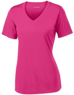 Women's Athletic All Sport V-Neck Tee Shirt in 12 Colors,Medium,Pink Raspberry