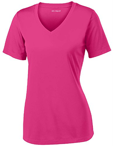 Women's Athletic All Sport V-Neck Tee Shirt in 12 Colors,XX-Large,Pink Raspberry