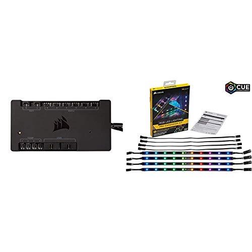 Corsair CL-8930002 RGB LED Lighting PRO-Erweiterungskit (mit 4 x RGB-LED-Beleuchtungsstreifen) + Corsair Commander PRO digitaler Lüfter- und RGB Beleuchtung-Controller schwarz