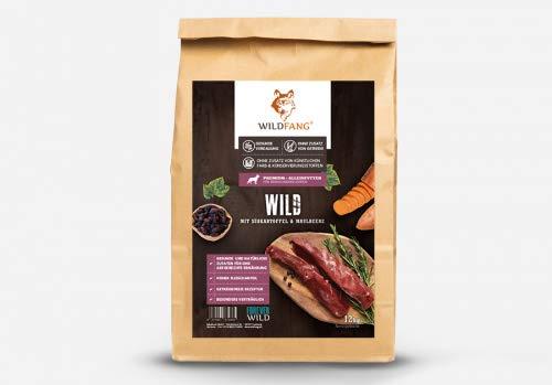 Wildfang® | Premium Trockenfutter für Hunde | natürliches Hundefutter, getreidefrei und ohne künstliche Zusatzstoffe … (Wild mit Süsskartoffel & Maulbeere, 12 kg)