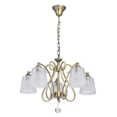 MW-Light 372013205 Eleganter Kronleuchter Messingfarbiges Metall Transparente Glasschirme Klares Kristall 5 Flammig x 40W E14