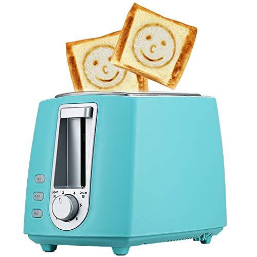 ACOMG Edelstahl-elektrischer Toaster-Haushalts-automatisches Brotbacken, schnelle Heizungs-Brotmaschine, Mehrfarbenwahlweise freigestellt, mit einem Smiley-Gesichts-Muster,Blue