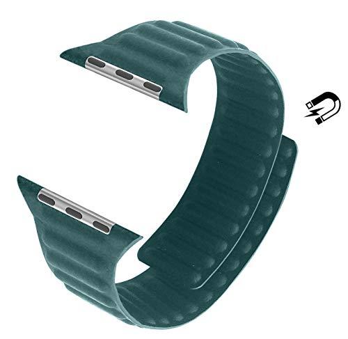 MaKer Cinturini Loop in Pelle con Chiusura Magnetica Compatibile con Apple Watch Series 6/SE/5/4/3 (40mm/38mm,Verde Foresta)