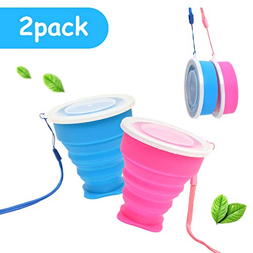 Tazza Pieghevole Retrattile Portatile a Livello Alimentare Senza BPA Silicone Outdoor Bicchiere per Viaggio Campeggio Escursionismo e al Lavoro (Blu + Rosa)