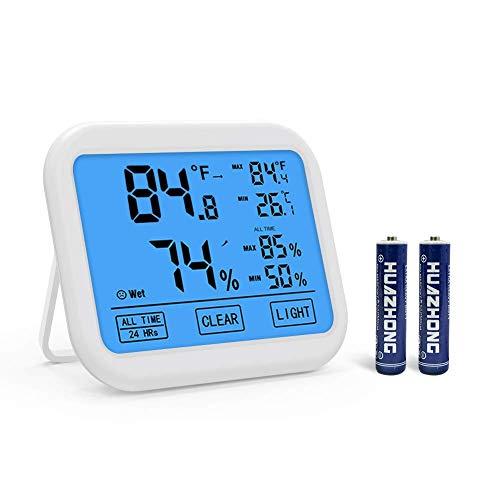 Naropox Higrómetro Digital Medidor de Humedad para Termómetro para Interiores con Pantalla Táctil LCD y Temperatura de Retroiluminación Humedad Multifuncional para Bebes, Invernadero, Sótano