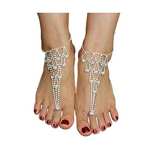 EQLEF® Fußkette Strass, barfüßigsandelholze Bridesmaid Strand-Hochzeit Schmuck-Zehe-Ring 1 Paar