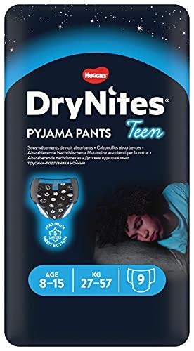 Huggies DryNites hochabsorbierende Nachtwindeln bei Bettnässen, für Jungen 8-15 Jahre (27-57 kg), 9 Stück, Windel-Pants