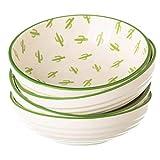 Cuencos Aperitivo Ceramica Porcelana Colores Salsaseras Postres Bol Salsas - Platos Platitos Diseño Cactus - Tazones Pequeños Mini Vintage retro Modernos Merienda Recipientes Juego 4 Piezas