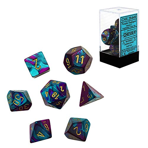 Chessex CHX26449 Dice, Gemini Purple-Teal/Gold, One Size, Purple/Teal/Gold