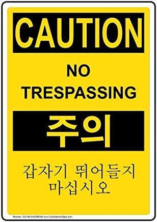 Zee en Phenix Voorzichtigheid Geen Trespassing [ Engels + Koreaanse] OSHA Veiligheidsbord, Grappige Wanring borden, Poortteken, Vandaar Yard Sign,8