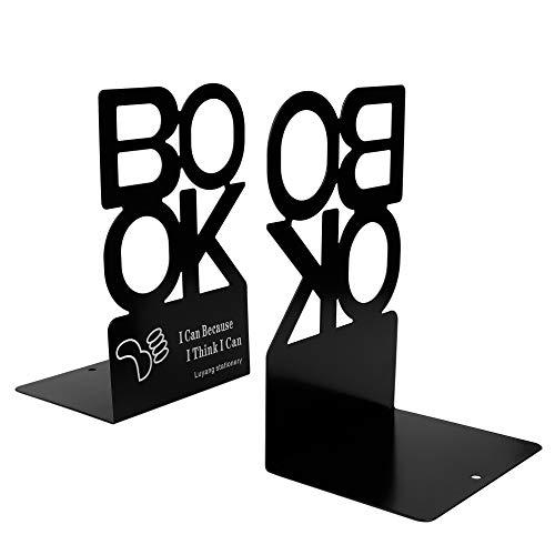 """Sujetalibros de Metal""""BOOK"""" Forma de Alfabeto Antideslizante Organizador de Libros de Metal para Escritorio, Oficina, Decoración del Hogar, Estudiantes Regalo 1 Par (Negro, Altura 205 mm)"""