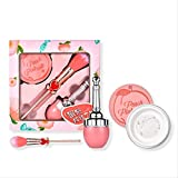 Brochas De Maquillaje Set Maquillaje Melocotón Conjunto De Tres Piezas Conjunto De Corazón De Niña Cepillo Rosa Loose Pink Blush Gift