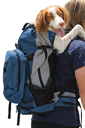 K9 Sport Sack | Dog Carrier Backpack for Small and Medium Pets | Front Facing Adjustable Pack with Storage Bag | Fully Ventilated | Veterinarian Approved (Large, Rover - Blue)