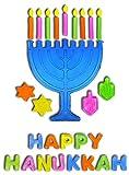 Hanukkah Window Gel Clings Menorah and Dreidel Decoration Hanukkah Decoration - Happy Hanukkah (Hanukkah Gel Clings)