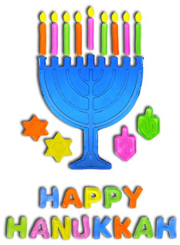 Hanukkah Window Gel Clings Menorah and Dreidel Decoration Hanukkah Decoration - Happy Hanukkah (Hanukkah Gel Clings)