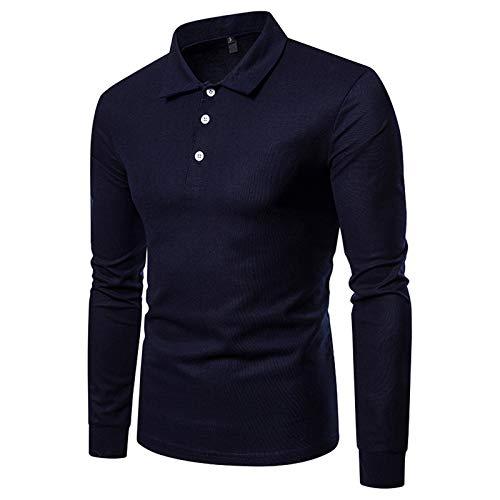 Mr.BaoLong&Miss.GO Otoño E Invierno Camiseta De Manga Larga para Hombre Suéter para Hombre Color Sólido De Manga Larga para Hombre Talla Grande Solapa Polo Camisa para Hombre