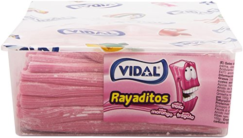 Vidal Golosinas. Rayaditos Fresa. Regaliz Relleno con intenso sabor a fresa. Color Rosa y blanco. Bandeja 200 unidades