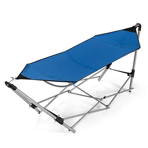 simplyUSAhello Portable Folding Steel Frame Hammock with Bag (Blue)