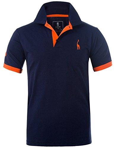 GLESTORE Herren Poloshirt Einfarbig Basic Kurzarm Polohemd T1-Navy XL