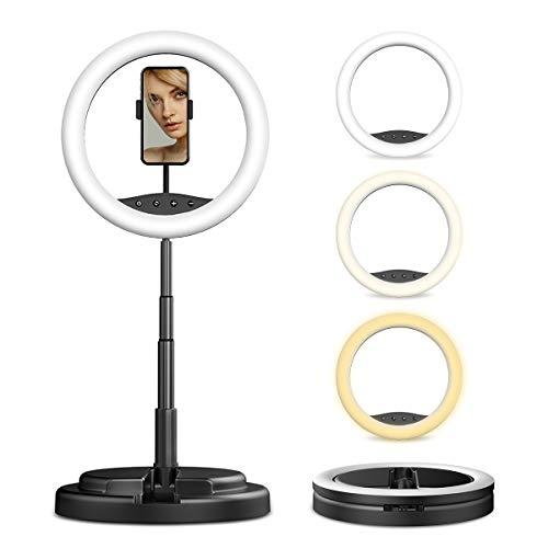 Anillo de luz LED de 12 'con soporte plegable, anillo de luz LED portátil para videos de YouTube, transmisión en vivo, maquillaje, Selfie Adecuado para teléfonos inteligentes Android iOS