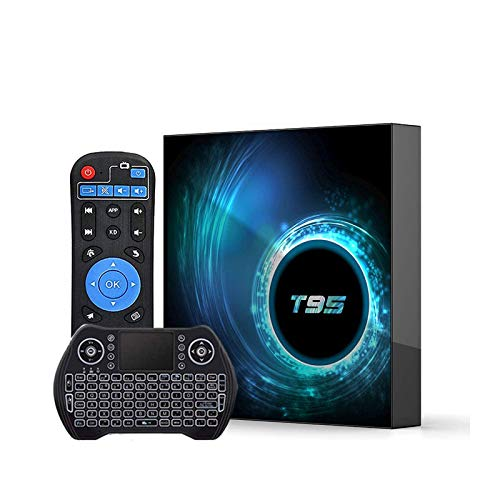 Android 10.0 TV Box 4GB RAM 64GB ROM,Android TV Box Quad-Core CPU Support Dual-WiFi 2.4G/5GHz Bluetooth Ultra HD 6K Android Box with Wireless Mini Keyboard