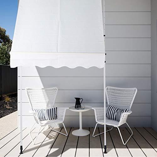 YCSD Klemmmarkise 200 X120cm Grau Balkonmarkise Sonnenschutz Terrassenüberdachung Höhenverstellbar Von 200-290cm Markise Balkon Ohne Bohren