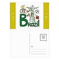 ブラジルの国家の象徴のランドマークのパターン 友人のポストカードセットサンクスカード郵送側20個