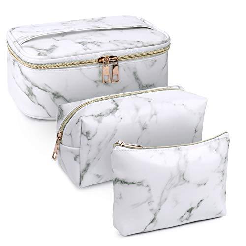 3 Stück Make Up Tasche Kulturbeutel Tragbar Reise PU-Leder Schminktasche Kosmetiktasche Mit wasserbeständig und strapazierfähigem (Marmorweiß)