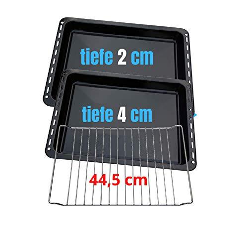 445 x 375 x 20 mm und 40mm 3er SET mit 2 Backbleche 2 Tiefe emailliert und 1 Backrost 445x340x25 mm passend für Bauknecht Whirlpool Ignis Ikea auch Neckermann Lloyds Quelle Privileg Matura