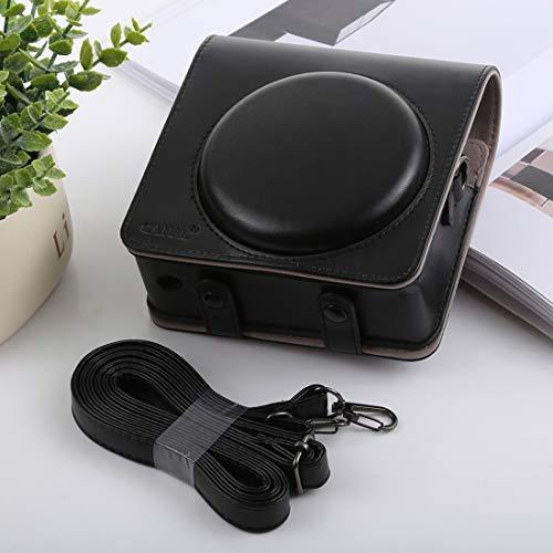 NO BRAND Bolsa de la cámara compacta Funda de Cuero Shi Ameng Estilo Retro de Cuerpo Completo de la cámara de la PU del Bolso con Correa for FUJIFILM SQ6 instax Cuadrado (Negro) (Color : Black)