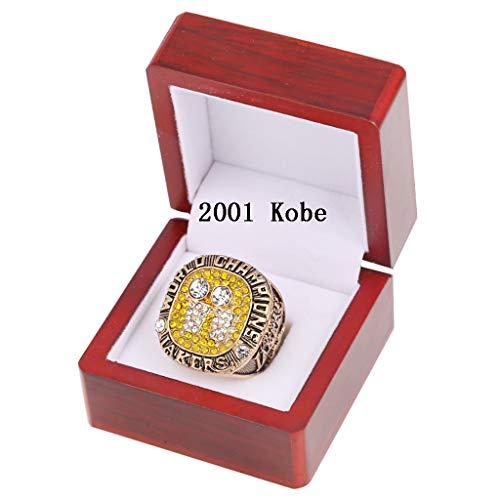 Lakers 2000,2001,2002,2009,2010 Anillo de Campeonato MVP Kobe Mamba Jubilado Baloncesto Campeón Anillo con Caja de Mostrar, Hombre 2001