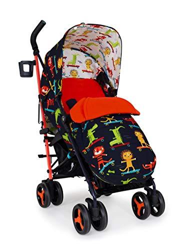 Cosatto Supa 3 Pushchair – Lightweight Stroller from Birth to 25Kg - Umbrella Fold, Large Shopping Basket, Footmuff, Sk8R Kidz