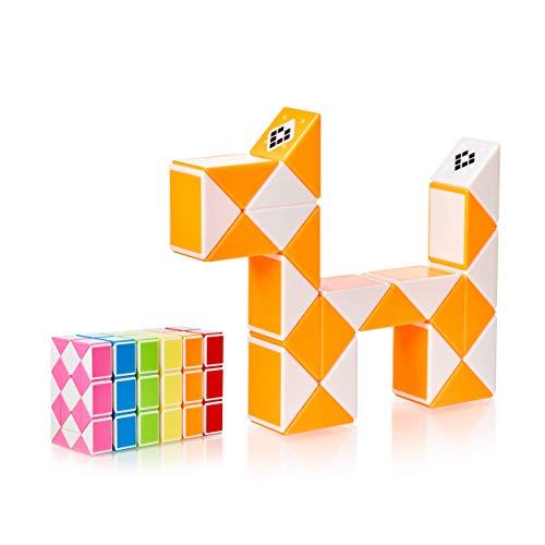 CUBIDI® Magic Snake mit 24 Blöcke - Knobelspiele für Kinder und Erwachsene - ideal als Mitgebsel Kindergeburtstag oder Kindergeburtstag Gastgeschenke oder kleine Geschenke für Kinder (Orange)