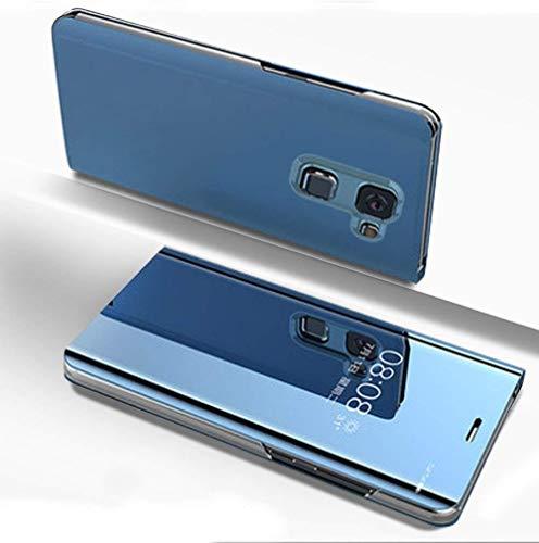 Ostop Étui Placage Miroir Coque pour Samsung Galaxy J6 2018,Fonction Stand Cuir Ultra Mince Transparent à Rabat Housse Magnétique Smart View Fenêtre Avant et Arrière PC Protection-Bleu