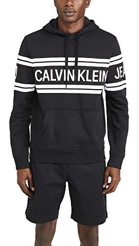 Calvin Klein Jeans Men's Varsity Traveling Logo Crossover Hoodie, Black, Large