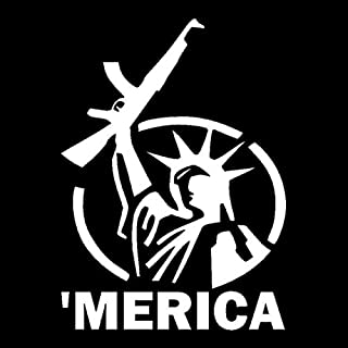 Hitada - 9.5cmx13cm MERICA Statue of Liberty Holding Gun Vinyl Stickers Decals Black/Silver