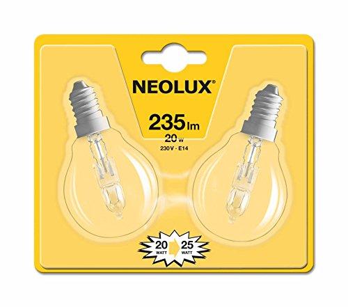 Neolux 4052899168749 Ampoule Halogène Sphérique Verre 20 W E14 Transparent Lot de 2
