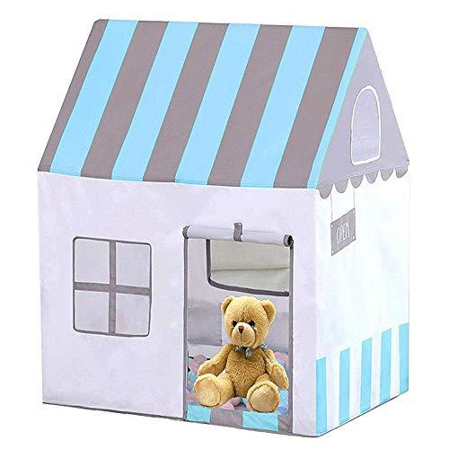 LYYJIAJU Kinder-Spielzelt Burg Große Teepee Zelt for Kinder mit Mat Tragbare Spielhaus Kinderhaus Fort Indoor Outdoor Gebrauch mit Carry (Color : Blue)