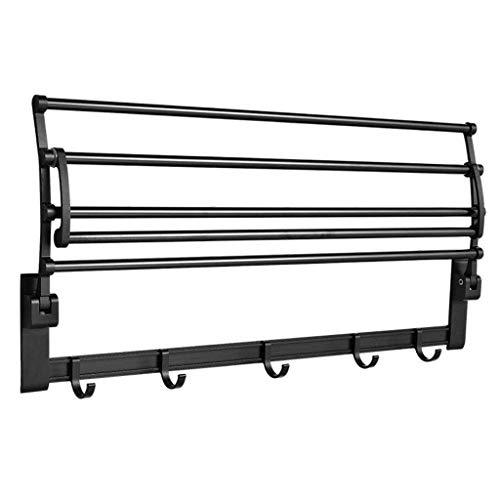 HLY Toallero de gancho, toallero de aluminio negro plegable sin perforaciones con balcón de baño enganchado, 40 cm, 40 cm