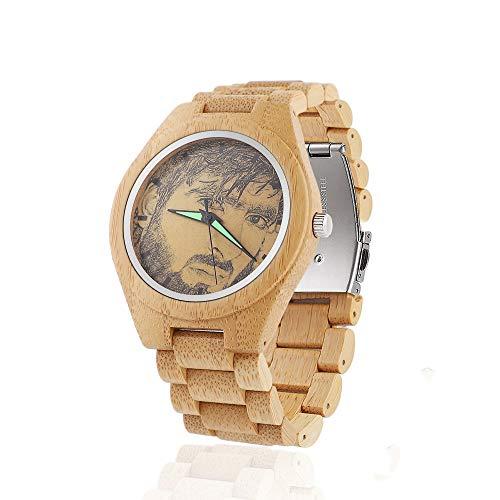Reloj de Madera con Foto Personalizada Reloj de Madera de Bambú Natural para Hombre Relojes de Cuarzo de Madera Hechos a Mano Reloj de Hombre Reloj de Pulsera Casual de Madera de Grano para Unisex