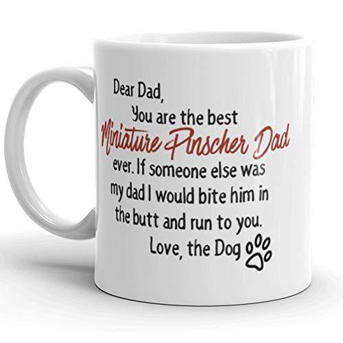 N\A Dason - Taza para papá con Pinscher en Miniatura Querido papá, Amante de los Perros, Idea de Regalo, Regalos para papá, Perro, Taza única para Perro, Regalo para el día del Padre, Regalos para él