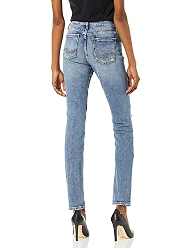 Silver Jeans Co. Women's Elyse Curvy Rise Slim Fit Jean, mid Stretch Destroyed, 28W X 30L