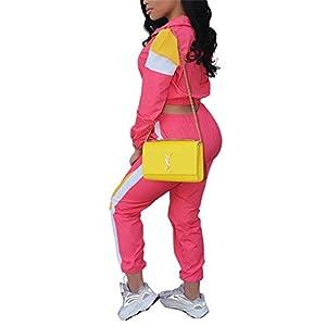 EOSIEDUR Women Casual Tracksuit 2 Piece Zip Top Jacket and Elastic Waistband Pant Women Windbreaker Tracksuit Sets