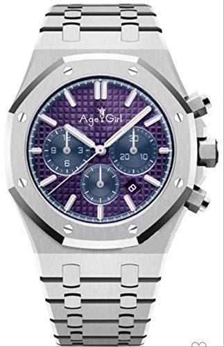 LKYH Klassische Armbanduhr Chronograph Herren Saphirglas Silber Silber Grau Pink Limited Oaks Edelstahl Royal Stoppuhr UhrPink