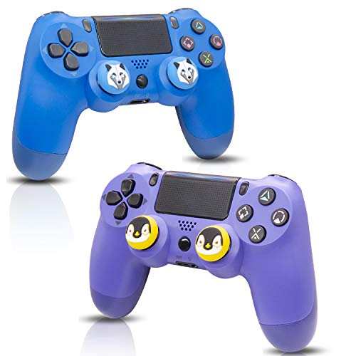 2 Pack Wireless Controllers for PS4, Wireless Remotes Control for Sony Playstation 4, YU33 PS4 Joystick Gamepad for Ps4 Controller with Dualshock and Charging Cables (Purple)